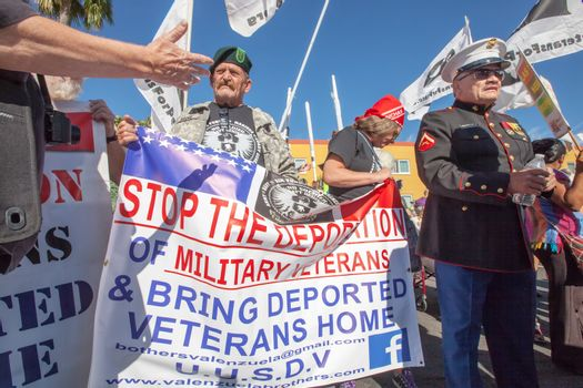Veterans with Banners at Nogales Border Action