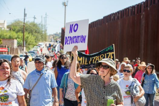 Group protesting deportation of veterans at USA and Mexico borde