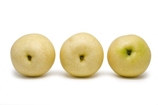 Chinese pears group isolated on white background