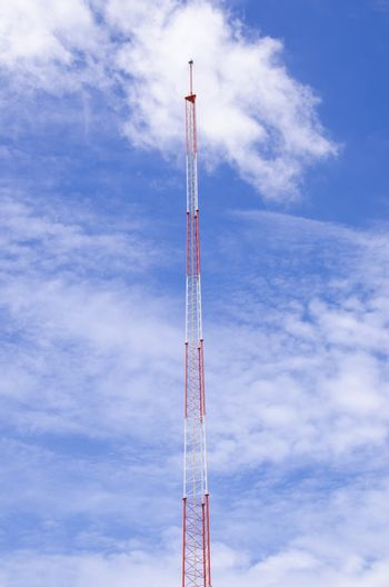 lightning rod Close up antenna repeater tower on blue sky