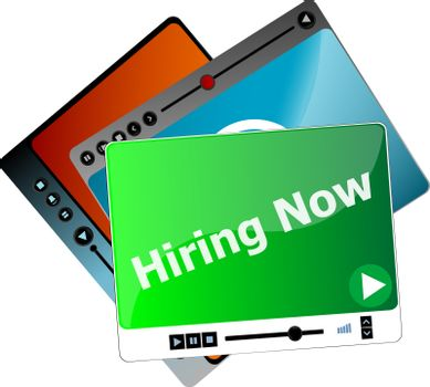 Hiring now. Video media player set for web, minimalistic design