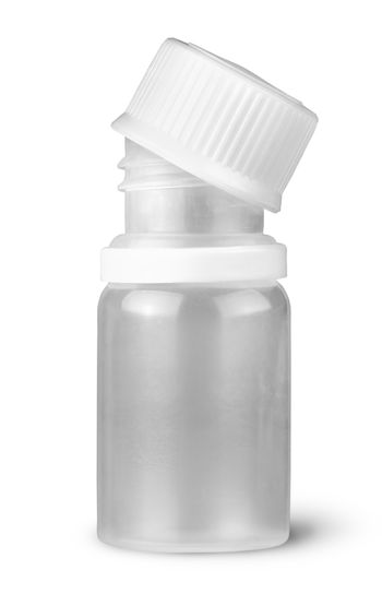 Small plastic bottle with lid removed