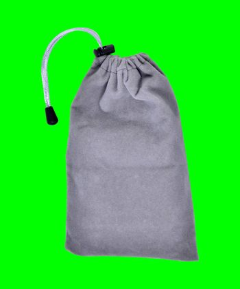 Grey Bags White Rope Fabric on green screen Clipping Path