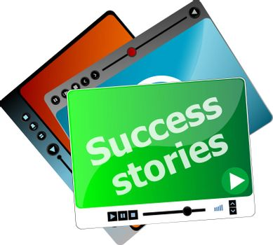 Success Stories. Video media player set for web, minimalistic design