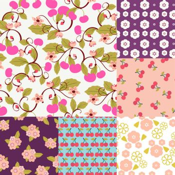 Vector seamless cute background with Cherries and blossom. Beautiful Set pattern for fabrics, textiles, paper, wallpaper.