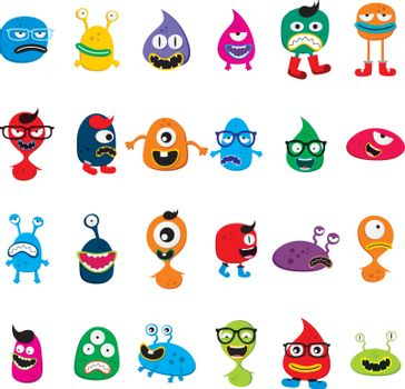 cute adorable ugly scary funny mascot monster set