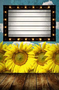 Vintage Light box program board with sunflower farm background