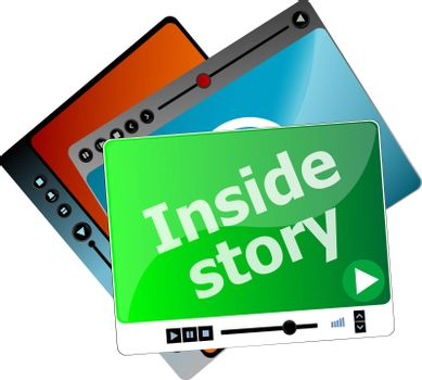 Inside Story. Video media player set for web, minimalistic design