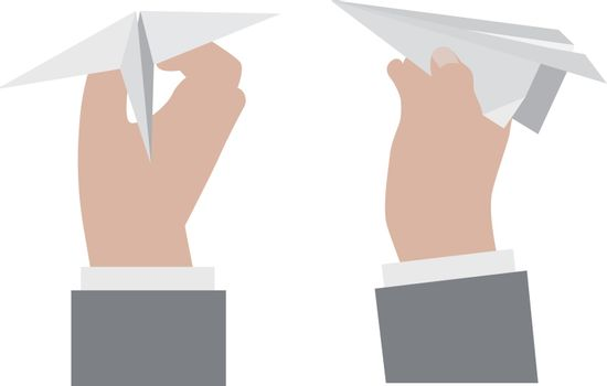 Hand holding a paper airplane.. Vector illustration isolated on white background