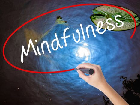 Woman Hand Writing Mindfulness  with marker over transparent board. Isolated on nature. Business concept. Stock Image