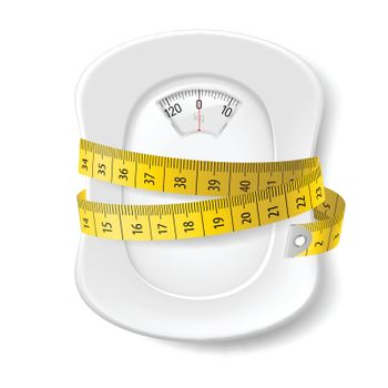 Plate with Measuring Tape and Scale for a Weighing Machine