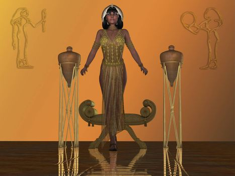 An Egyptian princess arises from a chair in a temple dressed in traditional gown and headdress from that era.