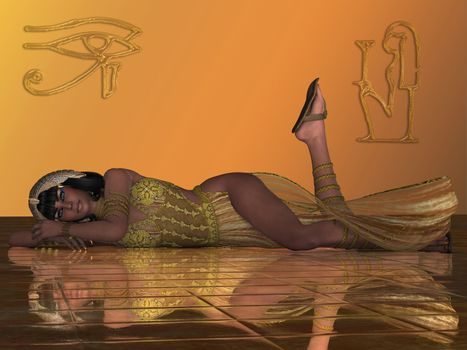 An Egyptian priestess in traditional clothing and headdress relaxes on a golden floor in the palace.