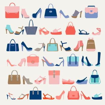 Collection  of  fashion Women bags handbags and High Heels shoes in a fashion trend colors