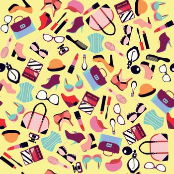 Vector of fashion and Beauty  accessory seamless pattern- illustration
