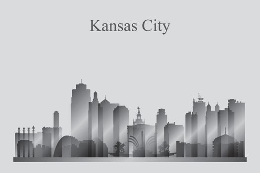 Kansas City skyline silhouette in grayscale