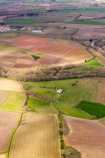 Aerial view from top on green irregular fields on south part of England. Vertical full frame crop