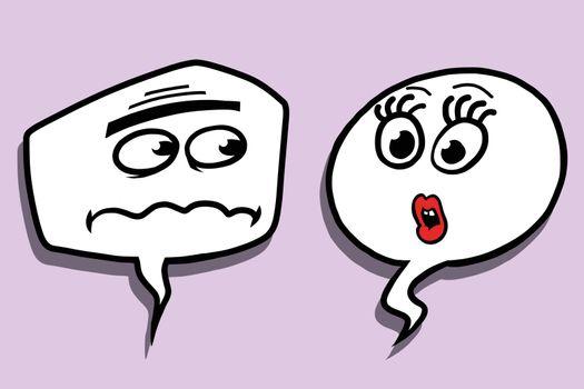Comic bubble face male and female dialogue