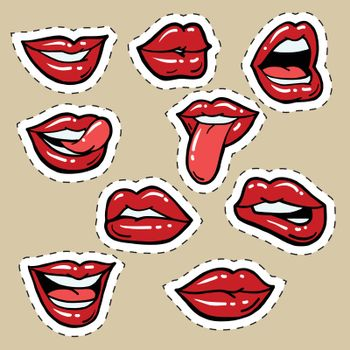 Set of red female lips and tongue, pop art comic vector illustration. Funny mouth