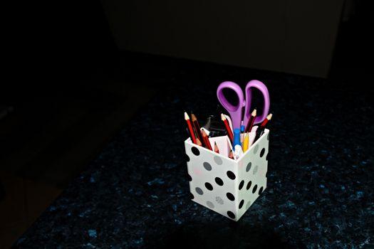 Desk Tidy - Pencil Holder on black. a