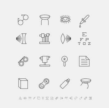 Set of medical icons for ophthalmology. Vector flat illustration