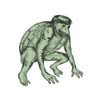 Kappa Monster Crouching Tattoo