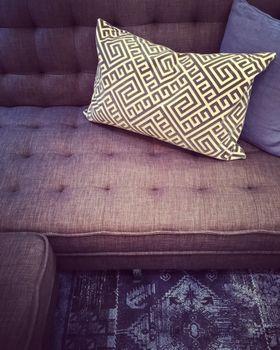 Fancy sofa with decorative cushions