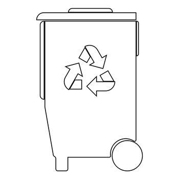 Refuse bin with arrows utilization the black color icon .