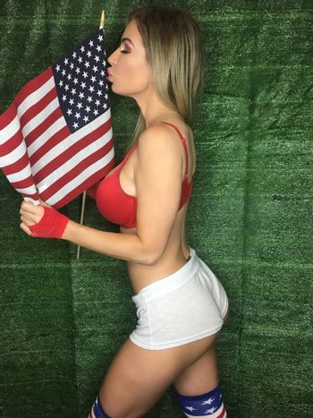Ana Braga the Brazilian Playmate celebrates Memorial Day with a sexy Patriotic social media shoot, which her pet cat interrupts, Los Angeles, CA 05-24-17