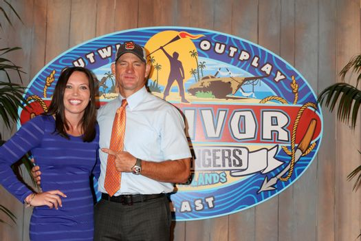 "Sarah Lacina, Brad Culpepper at the ""Survivor: Game Changers - Mamanuca Islands"" Finale, CBS Studio Center, Studio City, CA 05-24-17"