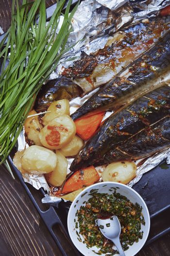 Baked fish and vegetable
