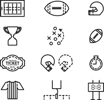 Set of icons for american football. Vector flat illustration in style thin line