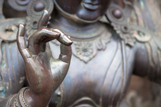 Karana mudra hand position expresses a very powerful energy with which negative energy is expelled. This hand gesture is also called warding off the evil. You can sense a very determined, focused energy just by looking at this hand gesture.