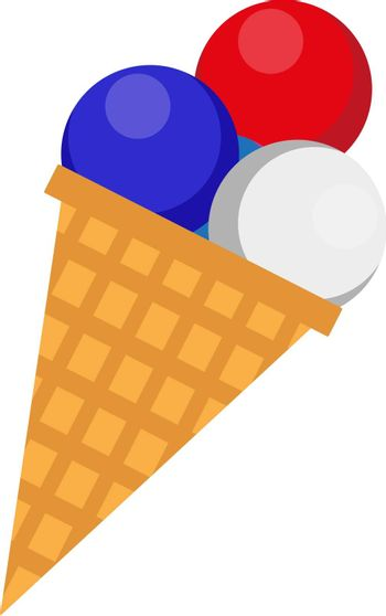Ice cream icon, flat style. 4th july concept. Isolated on white background. Vector illustration