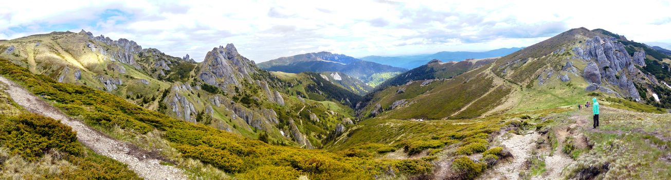 Panoramic view of Mount Ciucas on spring, part of Carpathian Range from Romania