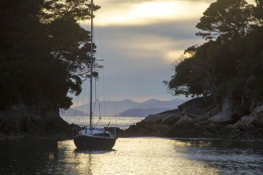 Golden Sand Beach Sail Boat
