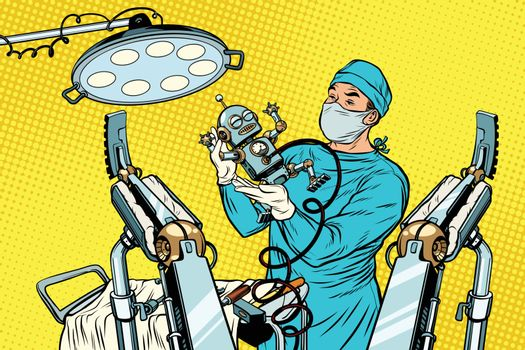 birth newborn robot, an obstetrician in the operating room