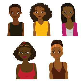 Fashion and hairstyle of african women vector illustration