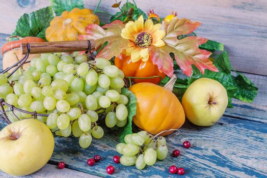 Green grapes in a basket and ripe apples, red cranberries, orange decorative pumpkin and squash with leaves on the wooden background