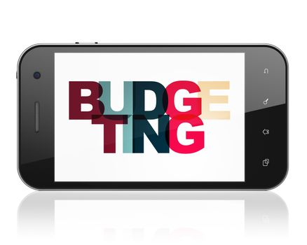 Business concept: Smartphone with Budgeting on  display