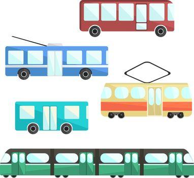 Flat colorful vector public transport set, public service vehicle, municipal mass transport