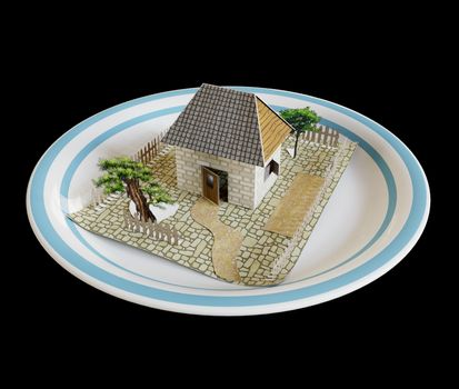 isolate house on the plate with blue border real estate business concept photo