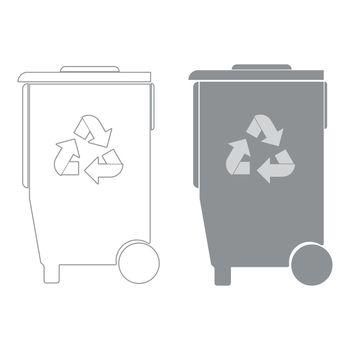 Refuse bin with arrows utilization the grey color icon .