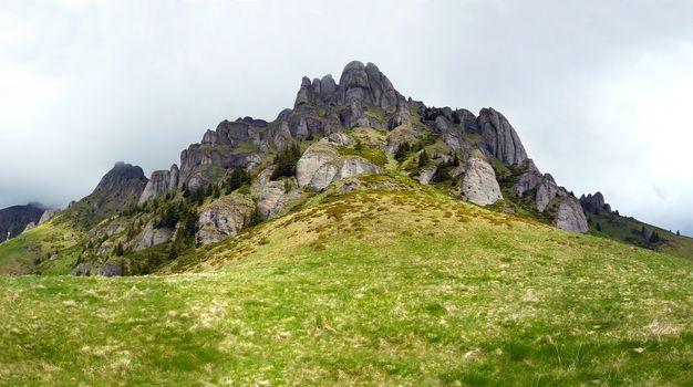 Panoramic view of Mount Ciucas on spring
