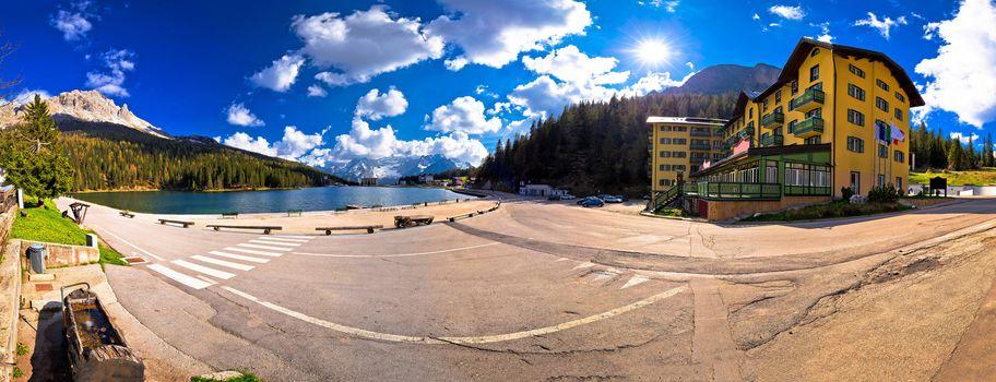Lake Misurina in Dolomiti Alps panoramic view