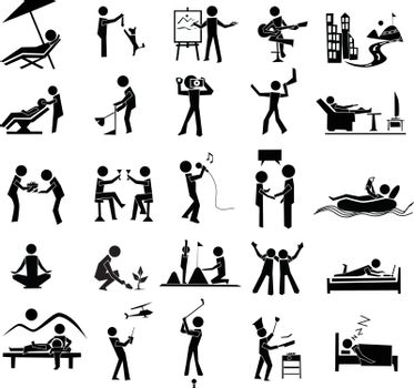 activities icon of leisure, rest, hobby, relax and travel