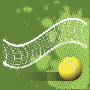 Illustration Tennis Ball and Grid on a Green Background