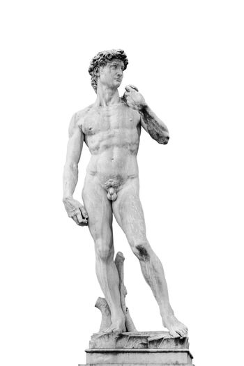 The replica of David, statue by Michelangelo isolated on white background. Picture is taken in the Piazza della Signoria in Florence, Italy