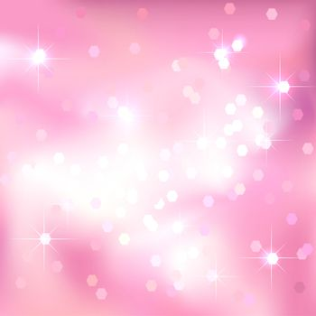 Pink abstract background with light spots and stars. Magical New Year, Christmas event style background