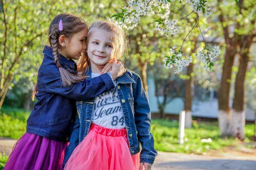 Two girls telling secret among spring garden